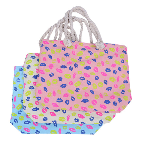 Designer Full Color Printing Pattern Polyester Tote Beach Bag with Rope Handle