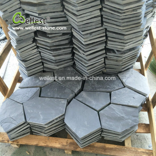 River Black Slate Cobble Stone Meshed Irregular Shaped Paver for Landscape Floor Paving pictures & photos