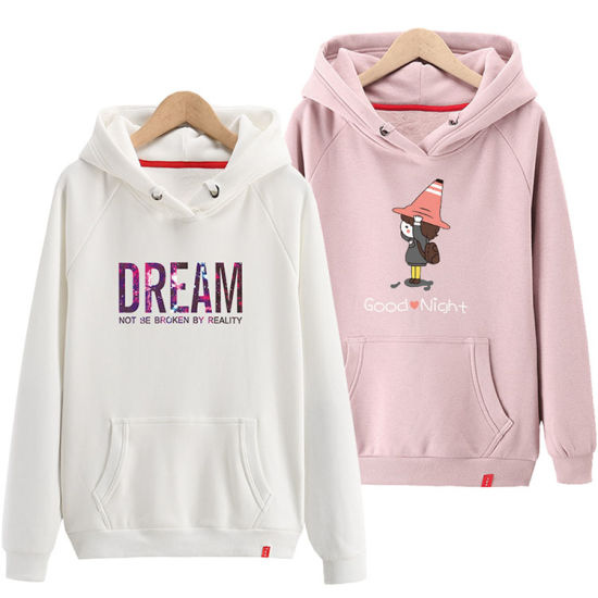 e8a4c94af55 Fashion Girl Pink French Terry Hoodies Sweatshirts Women