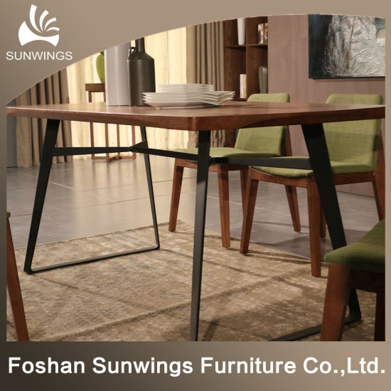 China The Nordic Wrought Iron Solid Wood Dining Table China Wooden