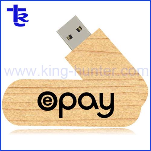 Promotional Special Custom Wood Swivel USB Flash Drive Portable Memory