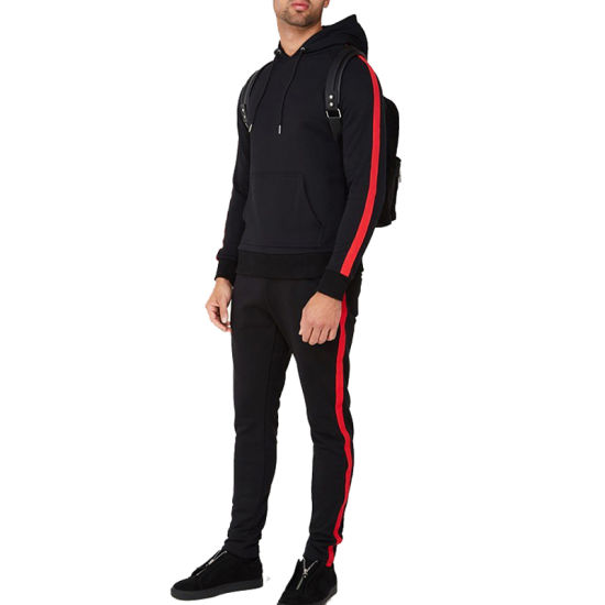 2019 New Style Custom Cotton Stripe Tracksuit Mens Sport Tracksuit