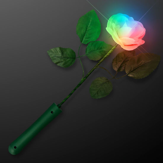 4 LIGHT UP CHANGE COLOR FLOWER ROSES novelty battery operated fake rose flowers