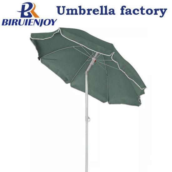 Factory Wholesale Green Polyester Steel Sun Beach Tilt Umbrella 5'