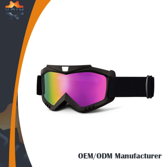 Helmet Compatible Motocross Goggles Wide Peripheral Vision 100% UV Protection Lens