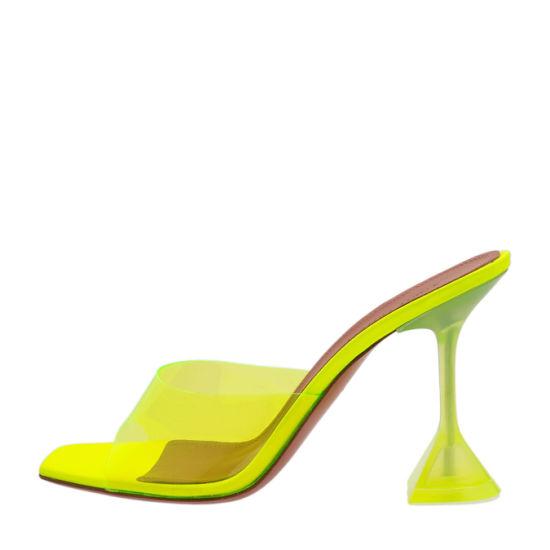 PVC Strap Neon Color Sandals Women Sculptural Pyramid Heels for Ladies