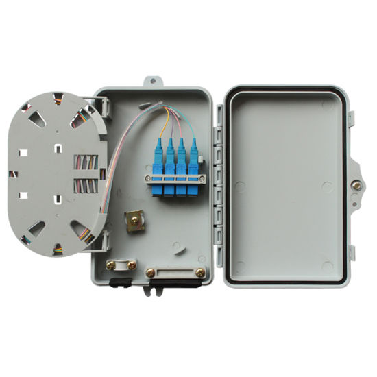 FTTH Mini ABS Material 4 Core Fiber Optic Distribution Box for Stainless Steel Tube Optical Splitter
