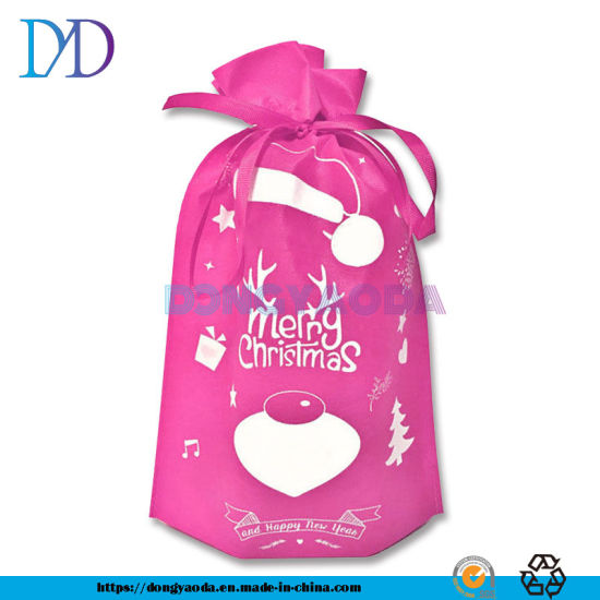 Custom Christmas Santa Sack Candy PP Non Woven Drawstring Bag