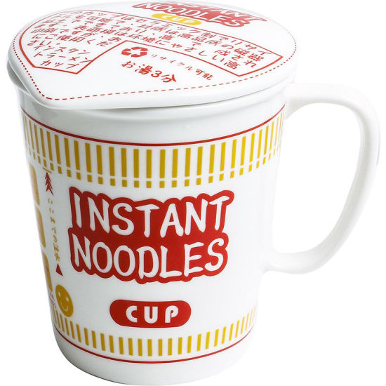 Ceramic Instant Noodles Cup Coffee Cup Mug 2 Sizes with Lids