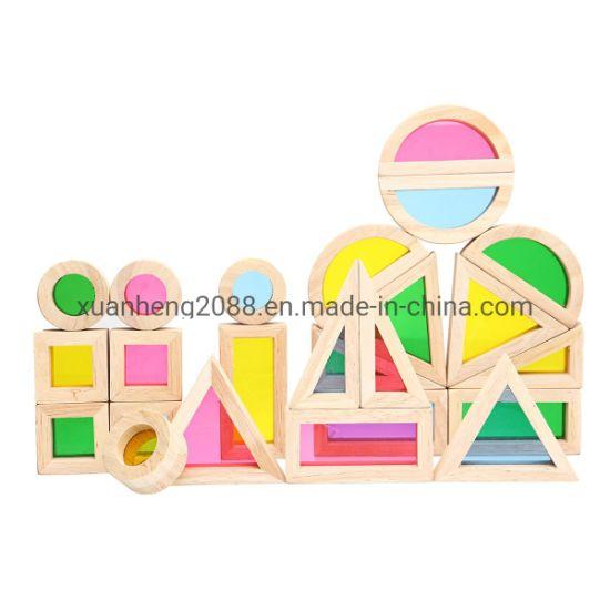 Creative Acrylic Rainbow Educational Toy Children DIY Wooden Assemblage Building Blocks 20/40 Pieces