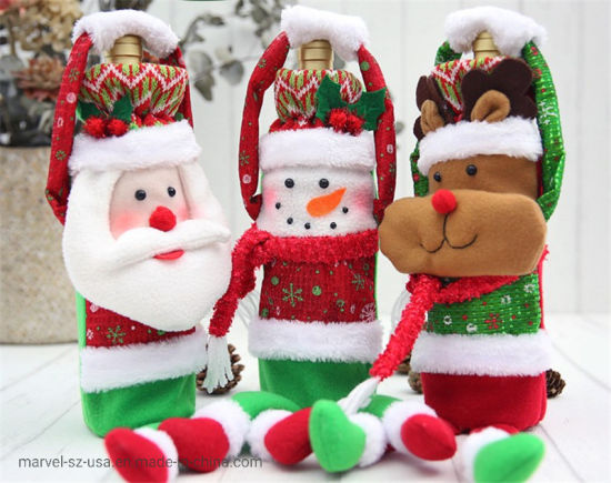 Wine Bottle Cover Christmas Decorations Snowman Stocking Gift Home Decorations