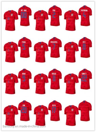 Wholesale Breathable USA 2019/20 Soccer Away Red Color Men Jerseys Sports Wear