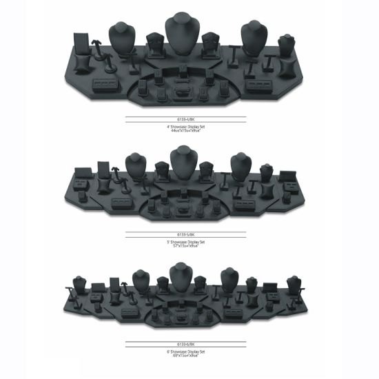 Wholesale Customize Wooden Black PU Leather Ring Jewelry Display Shelf