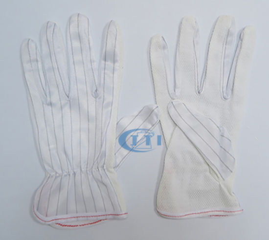 Anti Static Gloves (PVC DOT palm & elastic wrist) for Clean Room Working