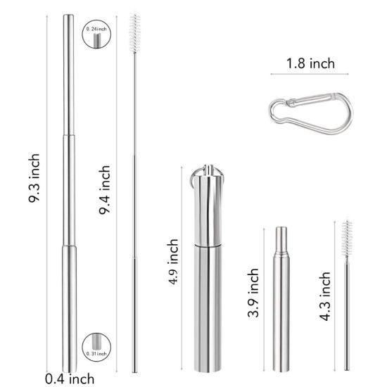 Wholesale Reusable Collapsible Foldable Telescopic Stainless Steel Metal Drinking Straw