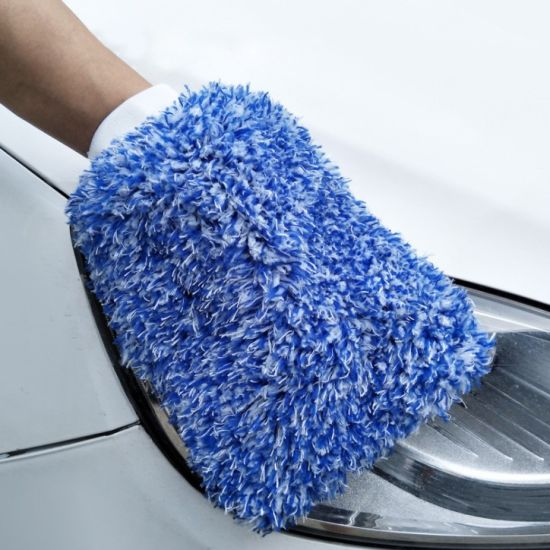Coral Fleece Microfiber Wash Mitt for Car Cleaning
