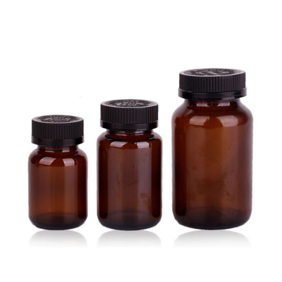 Wholesale Amber Brown 70ml 100ml 200ml Round Boston Medical Pharmacy Glass Pill Capsule Bottles for Sale