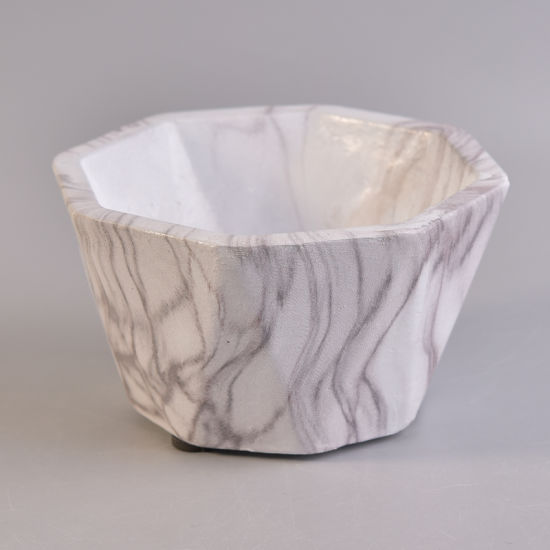 Octagon White Marble Finish Water Transfer Ceramic Candle Holder