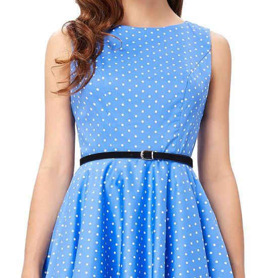01 Ladies Hot Summer Knee Length Blue DOT Sleeveless Dress