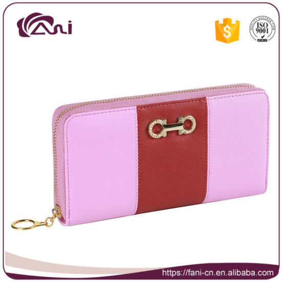 Whole Pink Lady Wallet Pu Leather Contrast Color Zipper