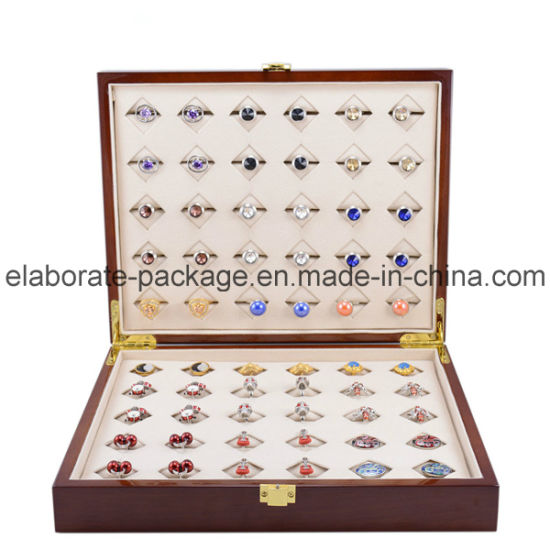 Handmade Ring Storage Box Brown Matte Finish Wooden Jewelry Box pictures & photos