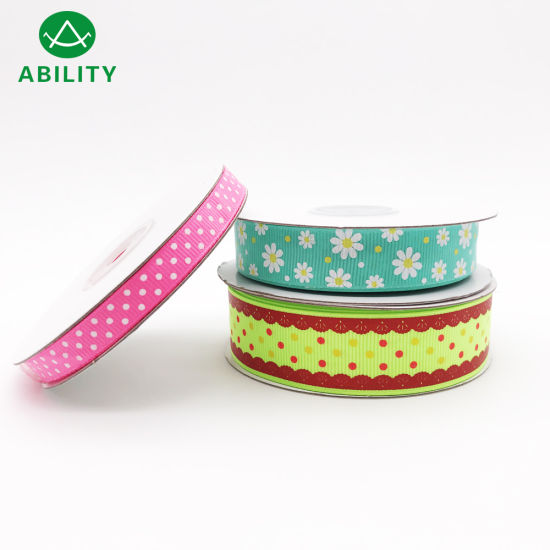 DOT Flowers Lace Design Polyester Printed Grosgrain Ribbon Satin Ribbon pictures & photos