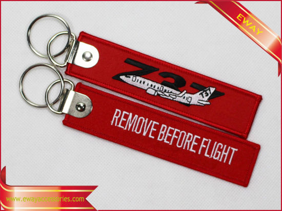 Remove Before Flight Embroidery Keychain Quality Fabric Promotion Keychain pictures & photos