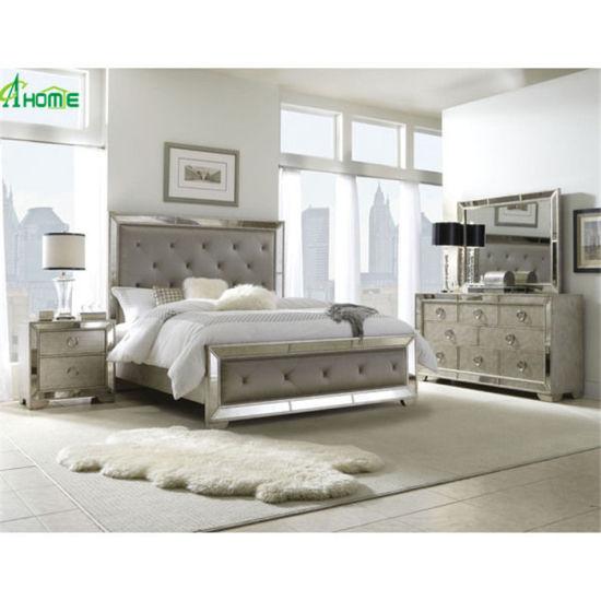 Modern Design Mirrored Furniture Mirror King Size Beds Bedroom Set