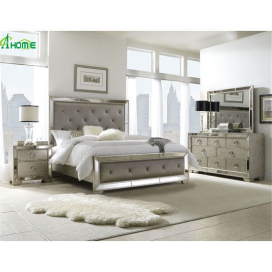 Muebles Espejos Modern Design Mirrored Furniture Mirror King Size Beds Bedroom Set