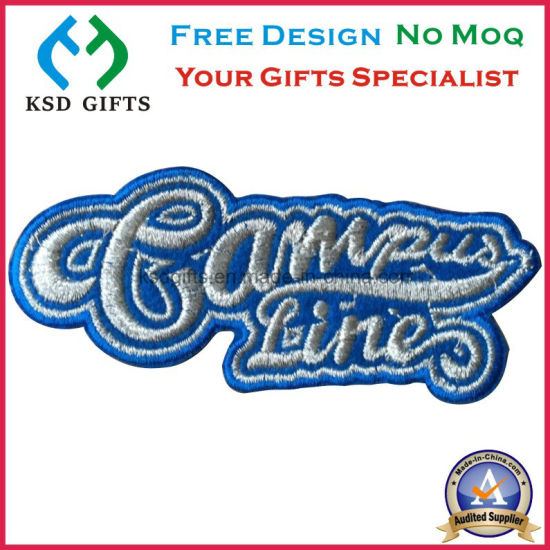 Fashion Metallic Silver Thread Custom Embroidered Patches
