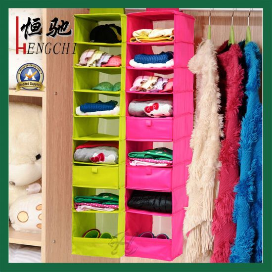 Durable Polyester Hanging Purse Organizer with Metal Hanger pictures & photos