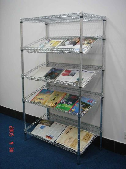 Adjustable Chrome NSF Slanted Brochure Display Rack for Book and Magazine pictures & photos