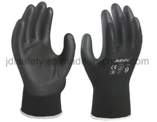 Black Safety Work Glove with PU Palm Coated (PN8003)