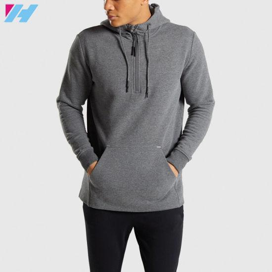 New Design Wholesale OEM Hot Sale Men 1/2 Zip Pullover Hoodie