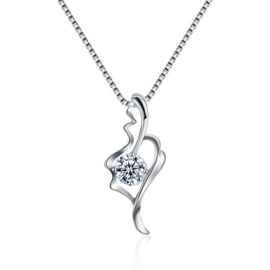 925 Sterling Silver Zircon Pendant Necklace Platinum Fashion Jewelry for Women