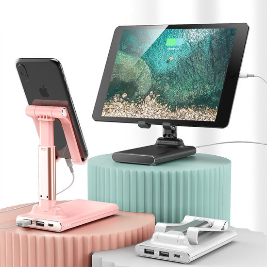 Multi-Angle Adjustable Portable Desktop Tablet Stand Holder with Power Bank