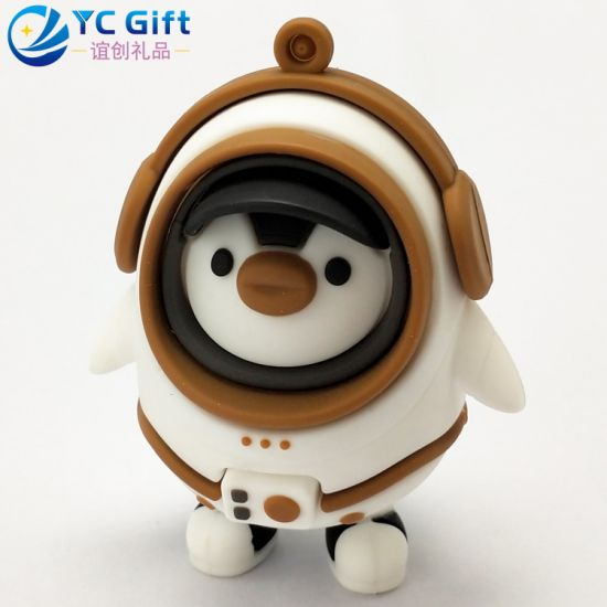 Factory Custom Cartoon Doll Toy Rubber Keyring Kid Souvenir Gift Penguin Robot 3D Logo PVC Key Fob Company Promotional Items Personalized Keychain with Design