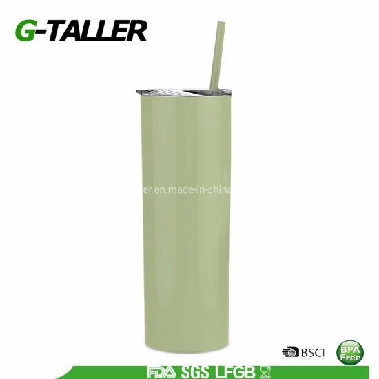 20oz Skinny Travel Mug Metal Coffee Tumbler with Straw (Green)