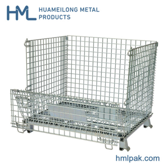 China Agriculture Folding Welded Forklift Wire Mesh Gitterbox Container For Sale China Wire Mesh Container Wire Mesh Cage