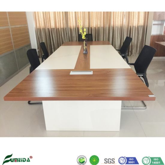 Wooden Golden Teak 3.6m Conference Table for Meeting Room