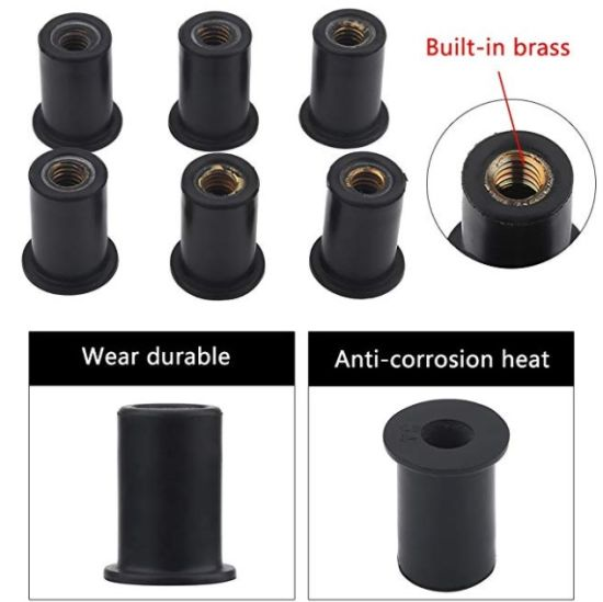 Windshield Bolt M5 Rubber Nut for Sealing Holes or Isolating The Vibration of a Motorized Kayak