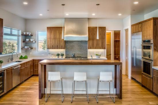China Modern Melamine Wooden Kitchen, Mid Range Kitchen Cabinets