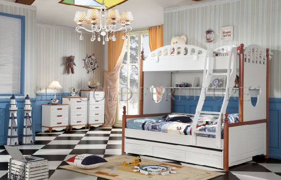 Children Wooden Double Bed Designs Loft Kids Wood Bed (SZ-BT903)