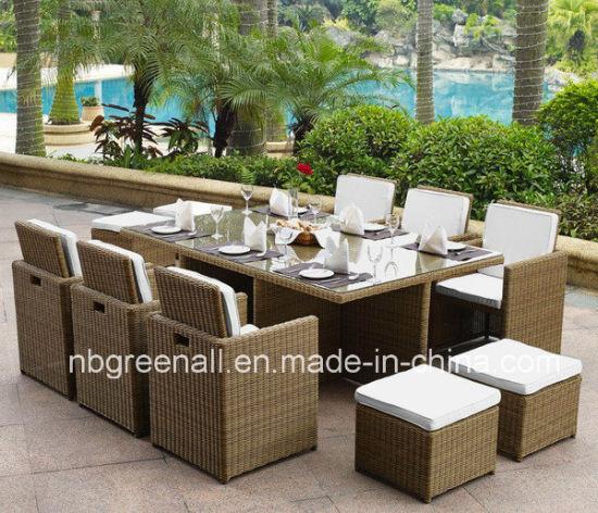 Outdoor Indoor Rattan Cube Dining Table Garden Line Patio Furniture