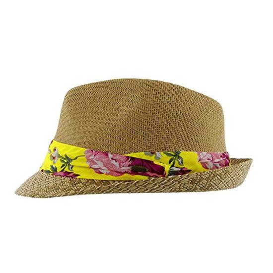 ec02fd0b5d1db Custom Promotional Fedora Hats Summer Paper Straw Hat with Flower Trim