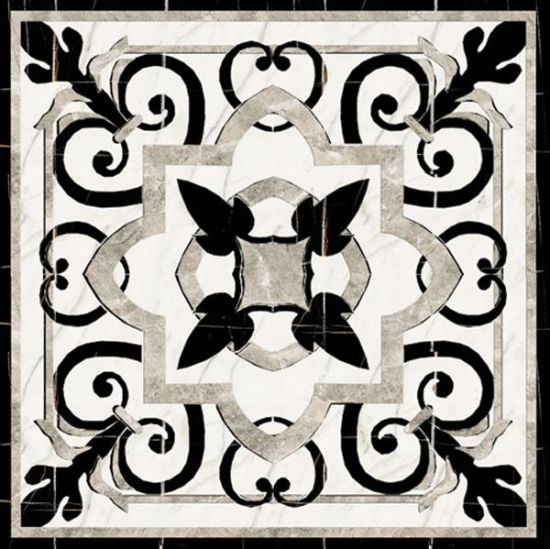 China New Design White And Black Marble Floor Pattern Waterjet Tile