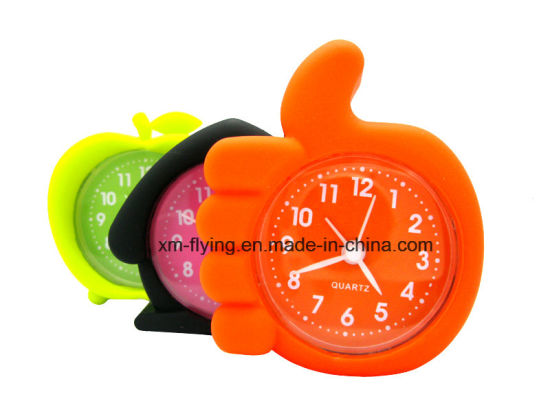 China Wholesale Creative Finger Shape Home Decoration Silent Silicone Mini Table Alarm Clock pictures & photos