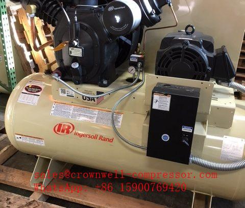 Ingersoll Rand 2-2475e7 5 2-2475e7 5-V 2-2475e7 5-P Two-Stage Electric  Duplex Reciprocating Air Compressor 7 5HP 120 Gal Horizontal