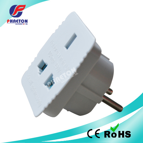 2 Pin Round to UK Power Plug Travel Adaptor Plug