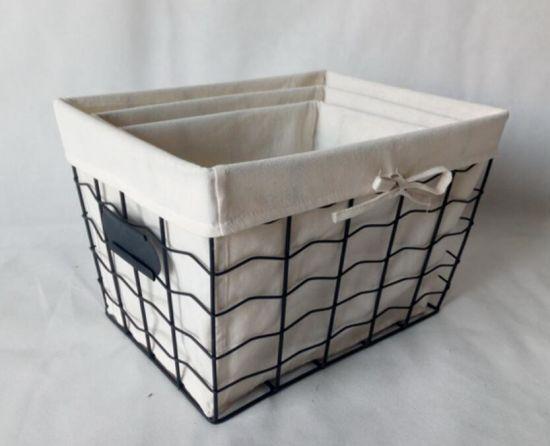 Lined Wire Mesh Fruit Basket Food Basket Storage Basket